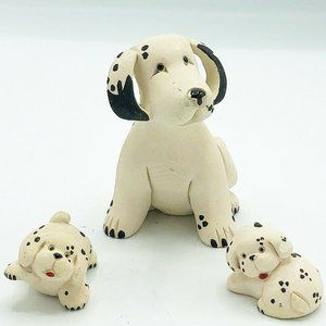 Dalmatian Mom and Two Pups Clay Dog Figures
